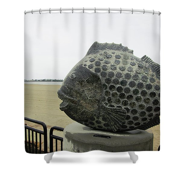 Polka Dotted Fish Sculpture Shower Curtain