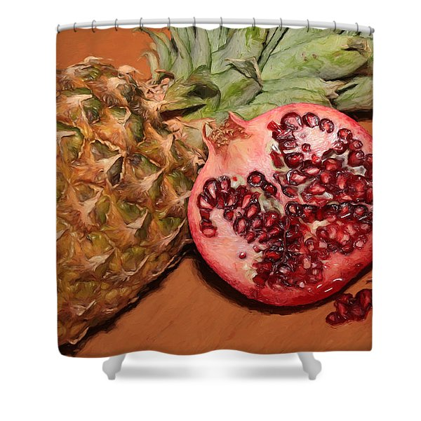 Pomegranate And Pineapple Shower Curtain