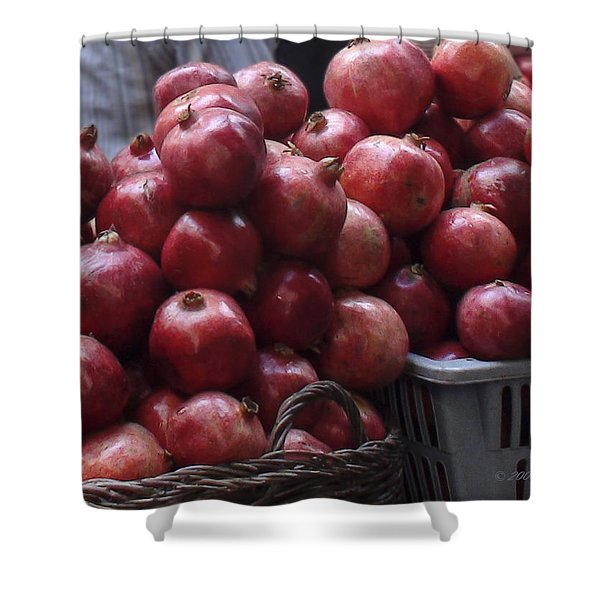 Pomegranates At Jerusalem's Old City Market Shower Curtain