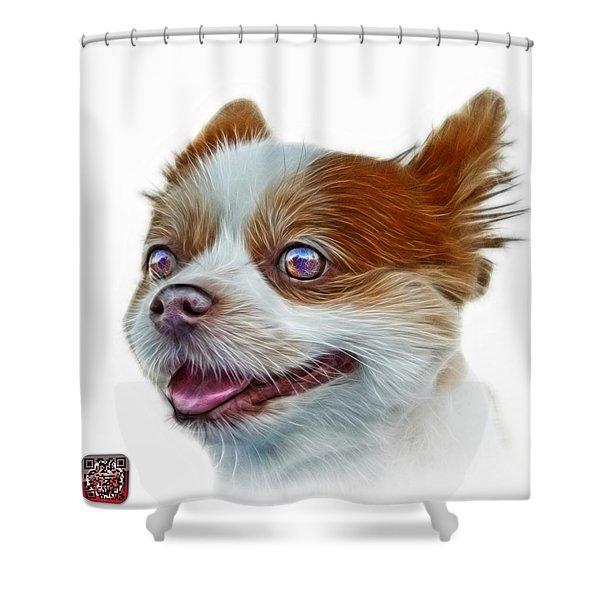 Pomeranian Dog Art 4584 - Wb Shower Curtain