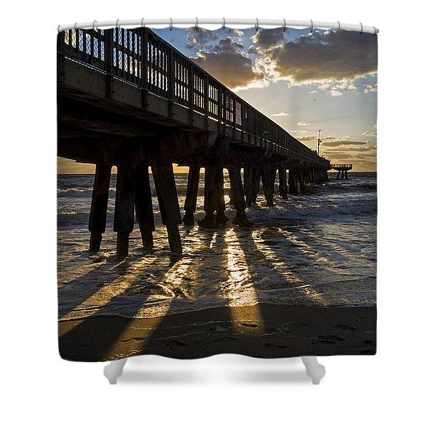 Pompano Beach Fishing Pier At Sunrise Florida Sunrays Shower Curtain