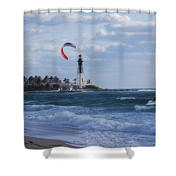 Pompano Beach Kiteboarder Hillsboro Lighthouse Shower Curtain