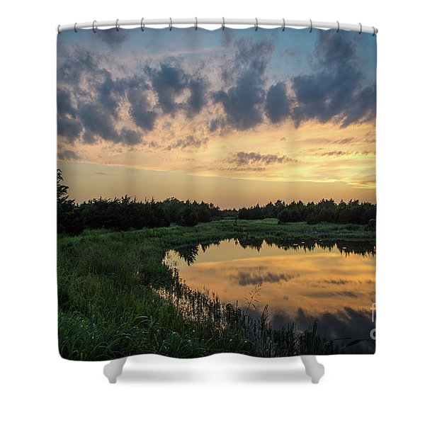Pond And Sunset Shower Curtain