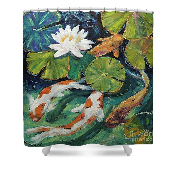 Pond Swimmers Koi Shower Curtain