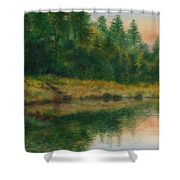 Pond With Spider Lilies Shower Curtain