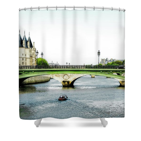 Pont Au Change Over The Seine River In Paris Shower Curtain