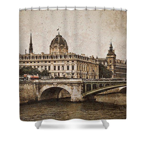 Paris, France - Pont Notre Dame Oldstyle Shower Curtain