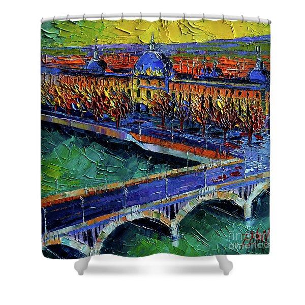 Pont Wilson And Hotel Dieu De Lyon By Mona Edulesco Shower Curtain