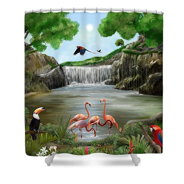 Shower Curtain featuring the digital art Pool Party by Mark Taylor