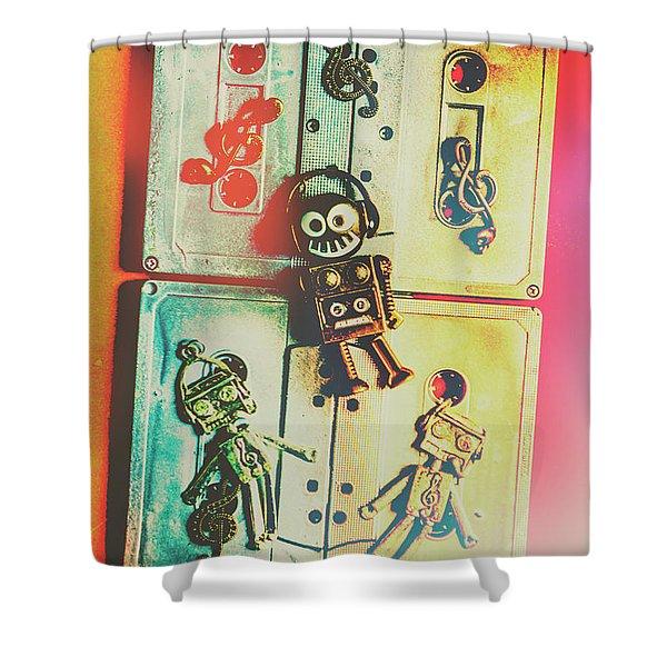 Pop Art Music Robot Shower Curtain