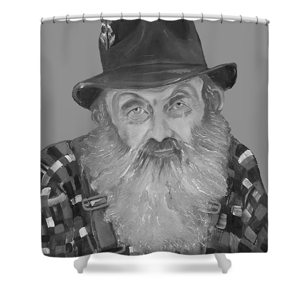 Popcorn Sutton Moonshiner Bust - T-shirt Transparent B And  W Shower Curtain