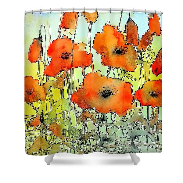 Poppies Abstraction Shower Curtain