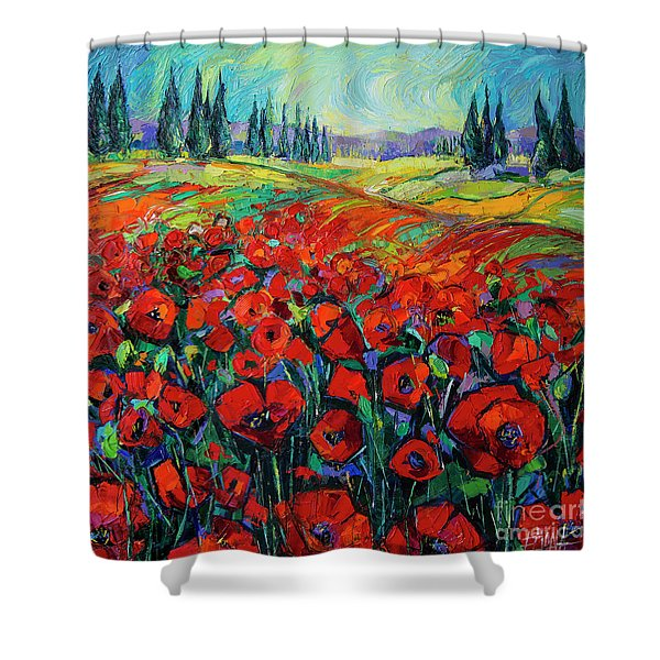 Poppies And Cypresses - Modern Impressionist Palette Knives Oil Painting Shower Curtain