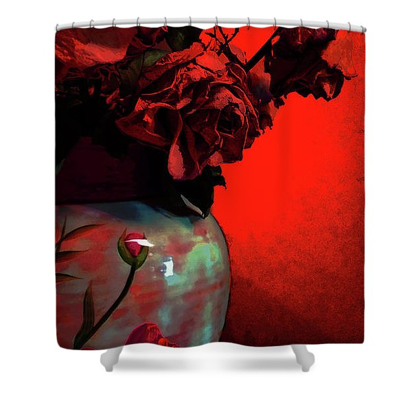 Poppies And Roses Shower Curtain