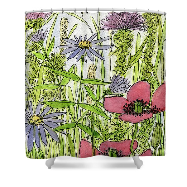 Poppies And Wildflowers Shower Curtain