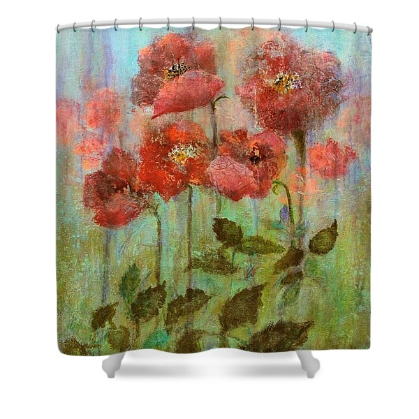 Poppies In Pastel Watercolour Shower Curtain