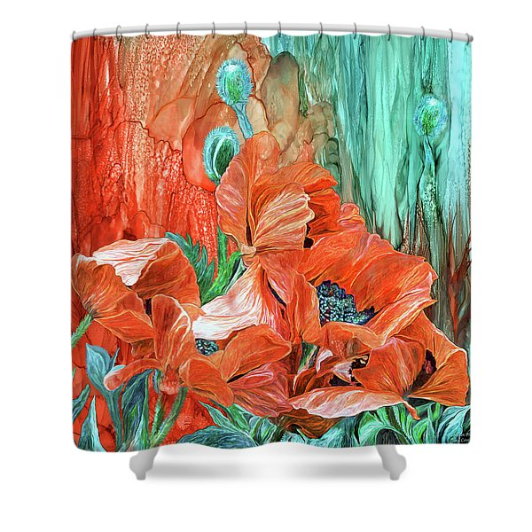Poppies - Love In Bloom Shower Curtain