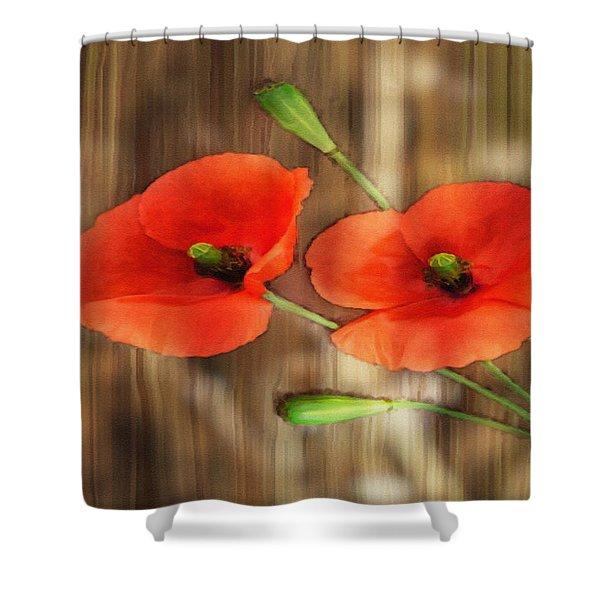 Poppies On Barnwood Shower Curtain