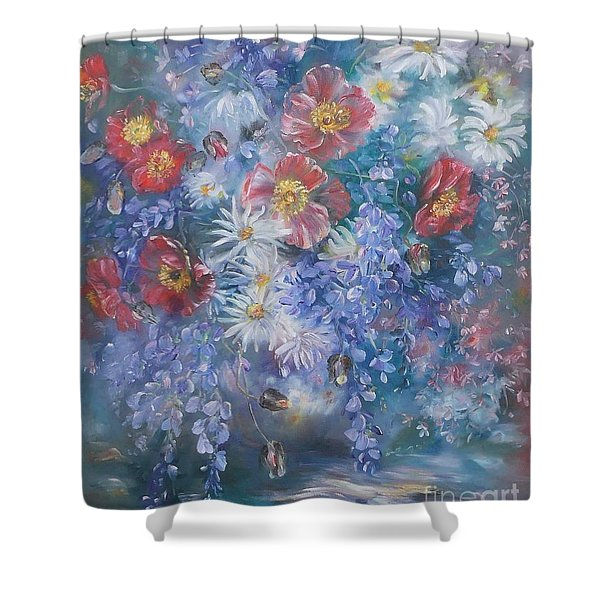 Poppies, Wisteria And Marguerites Shower Curtain