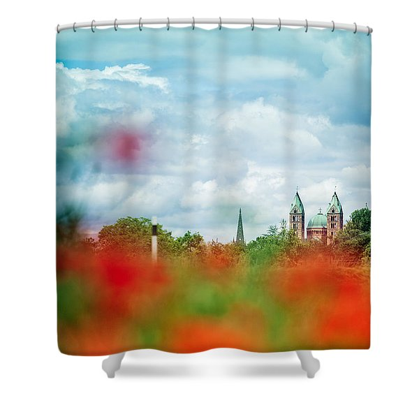 Poppy Field And Speyer Cathedral Shower Curtain
