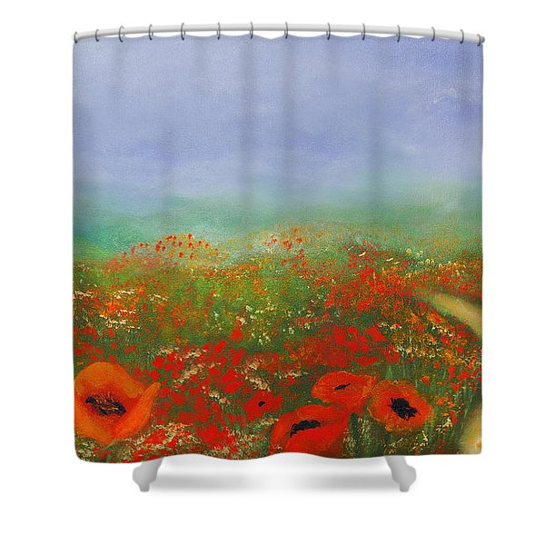 Poppy Field Impressions Shower Curtain