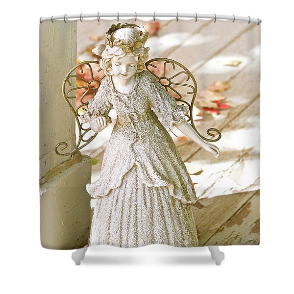 Porch Angel In The Fall Shower Curtain