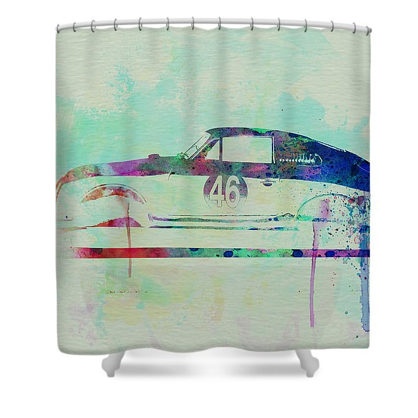 Porsche 356 Watercolor Shower Curtain