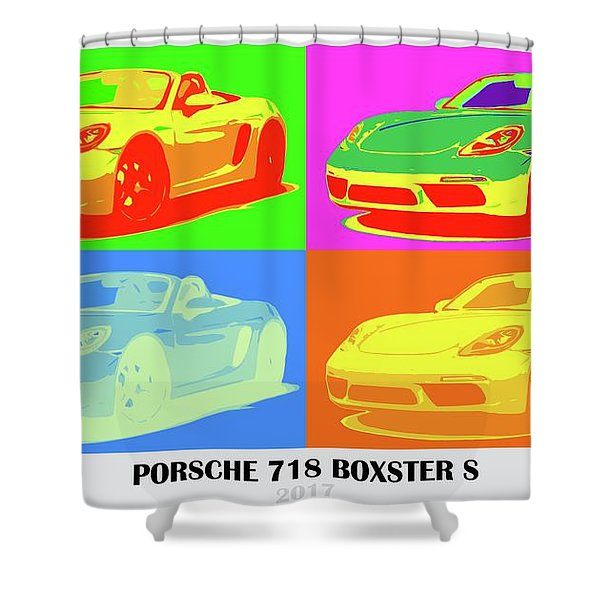 Porsche 718 Boxster S, Warhol Style, Office Decor Shower Curtain