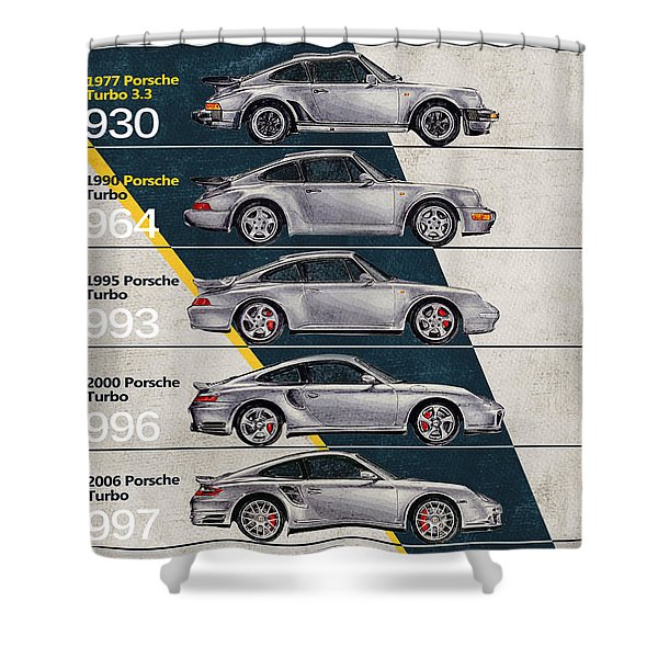 Porsche 911 Turbo Timeline  Shower Curtain
