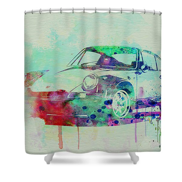 Porsche 911 Watercolor 2 Shower Curtain