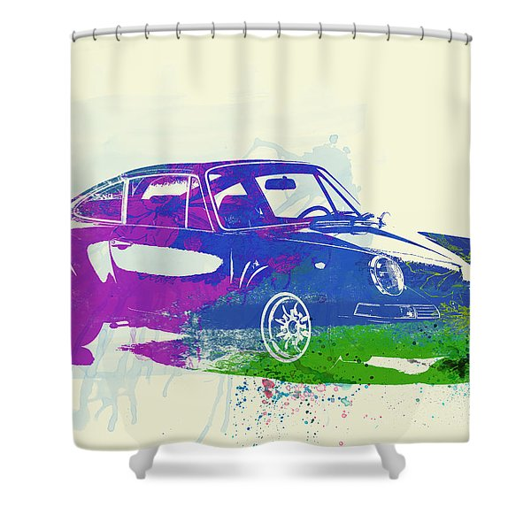 Porsche 911 Watercolor Shower Curtain