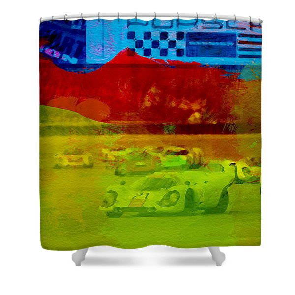 Porsche 917 Racing Shower Curtain
