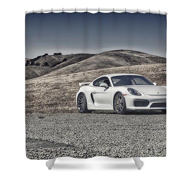 Porsche Cayman Gt4 In The Wild Shower Curtain