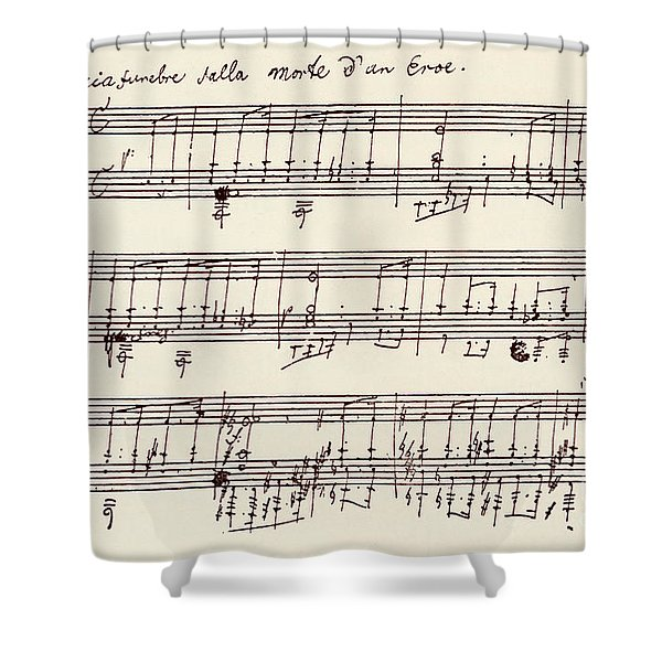 Portion Of The Manuscript Of Beethoven's A Flat Major Sonata, Opus 26 Shower Curtain