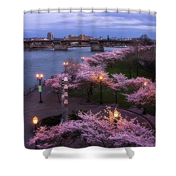 Portland Cherry Blossoms Shower Curtain