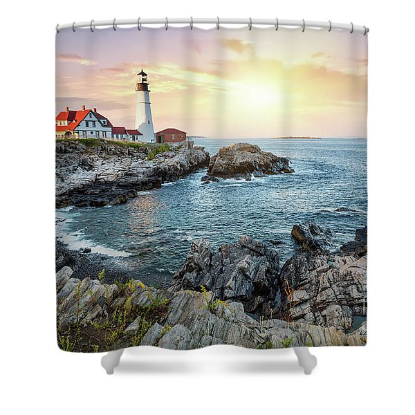 Portland Head Light At Dusk Shower Curtain