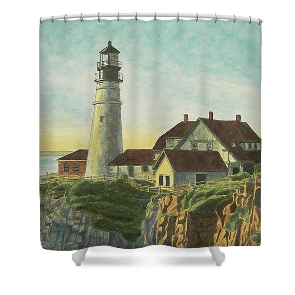 Shower Curtain featuring the painting Portland Head Light At Sunrise by Dominic White