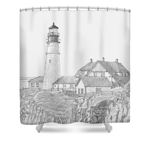 Portland Head Light Drawing Shower Curtain