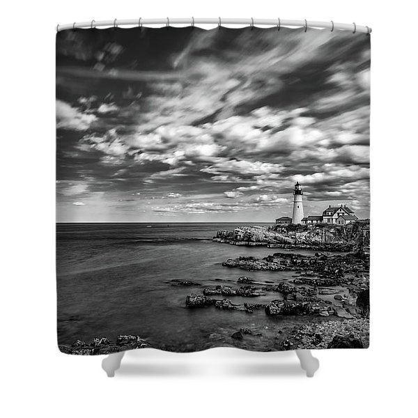 Portland Head Light In Black And White Shower Curtain