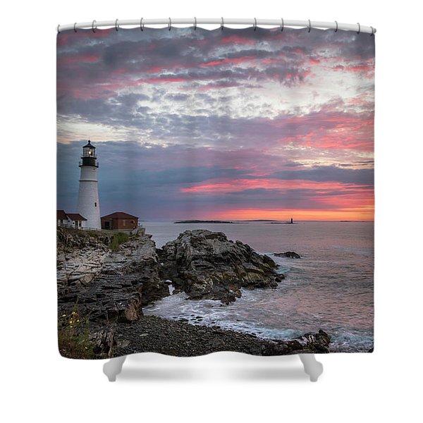 Portland Head Light Sunrise Shower Curtain