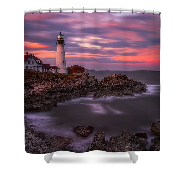 Portland Head Sunset Shower Curtain