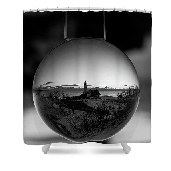 Portland Headlight Globe Shower Curtain