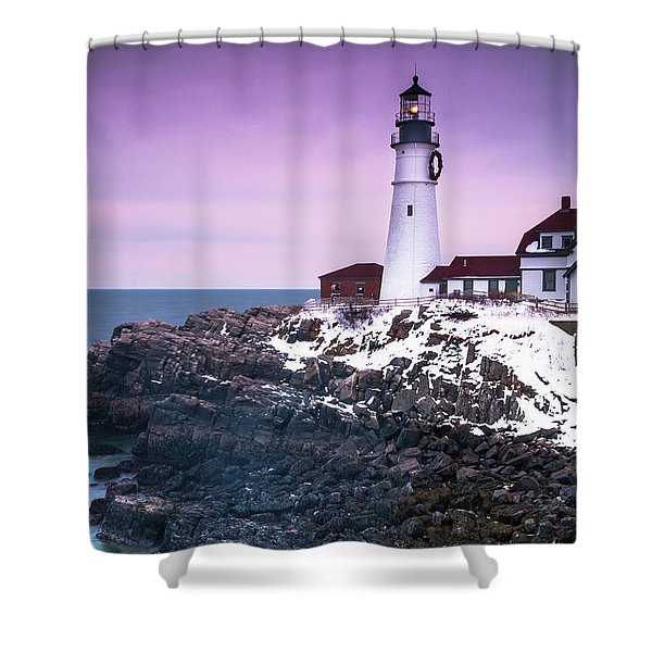Shower Curtain featuring the photograph Maine Portland Headlight Lighthouse In Winter Snow by Ranjay Mitra