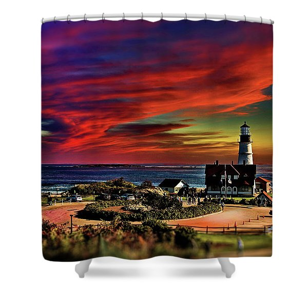 Portland Headlight Lighthouse At Sunset, Maine Shower Curtain