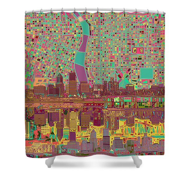 Portland Skyline Abstract 2 Shower Curtain