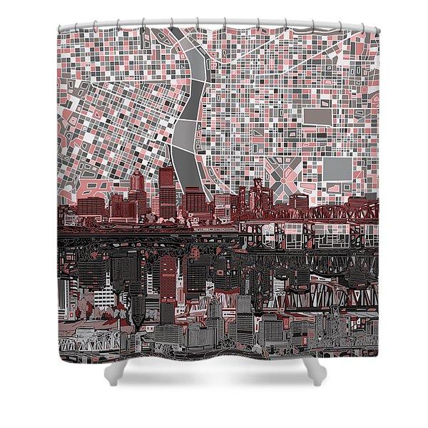 Portland Skyline Abstract 8 Shower Curtain