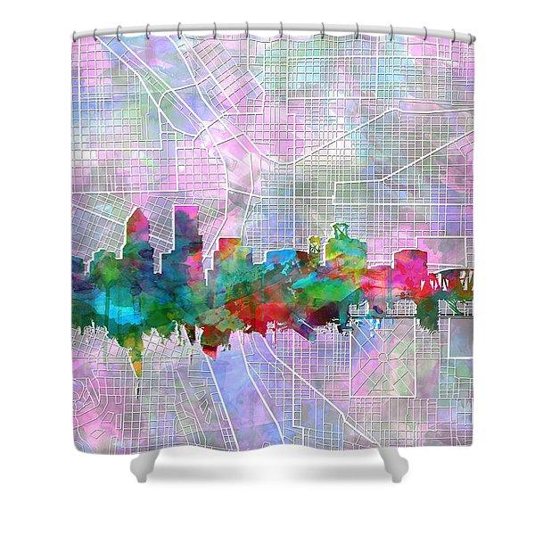 Portland Skyline Watercolor 6 Shower Curtain