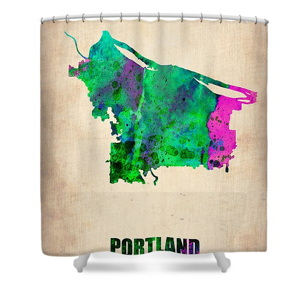 Portland Watercolor Map Shower Curtain
