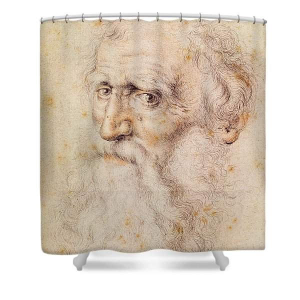 Portrait Of A Bearded Old Man Shower Curtain