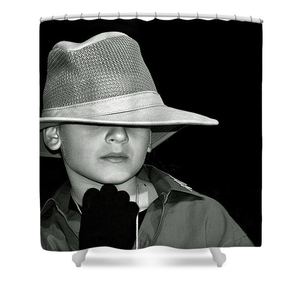 Portrait Of A Boy With A Hat Shower Curtain